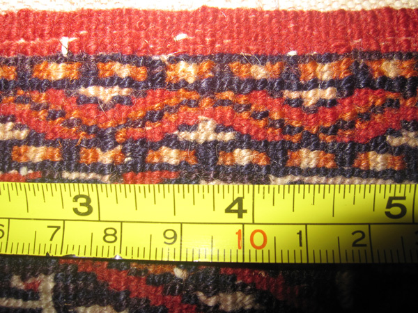measurement of the rugs knots