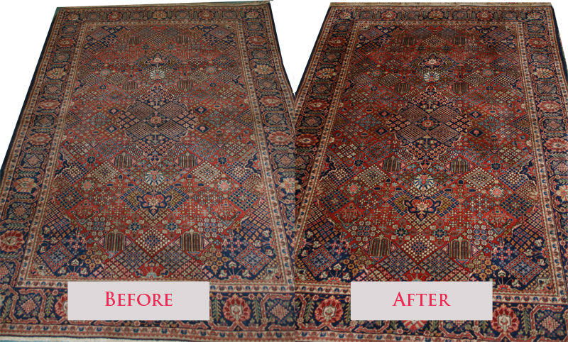 A Before And After Picture Of Kashan Rug Our Expert Persian Cleaning Service