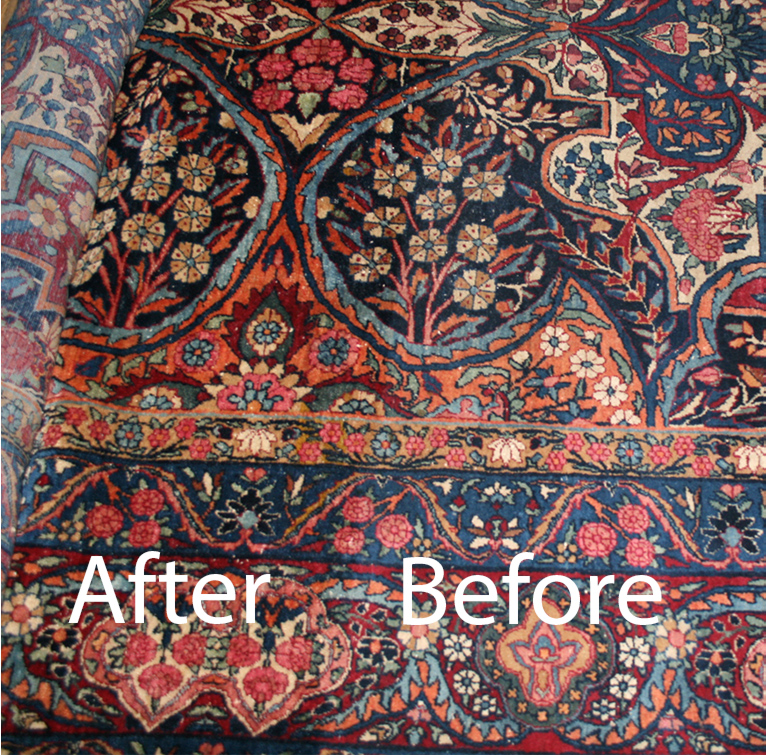 Yazd Rug with one half cleaned