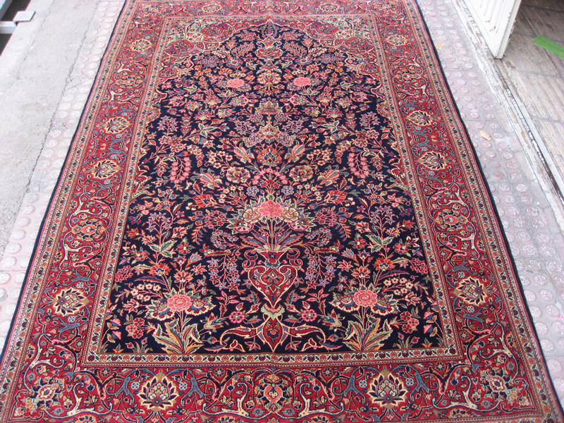 Kashan Rug after cleaning and repair