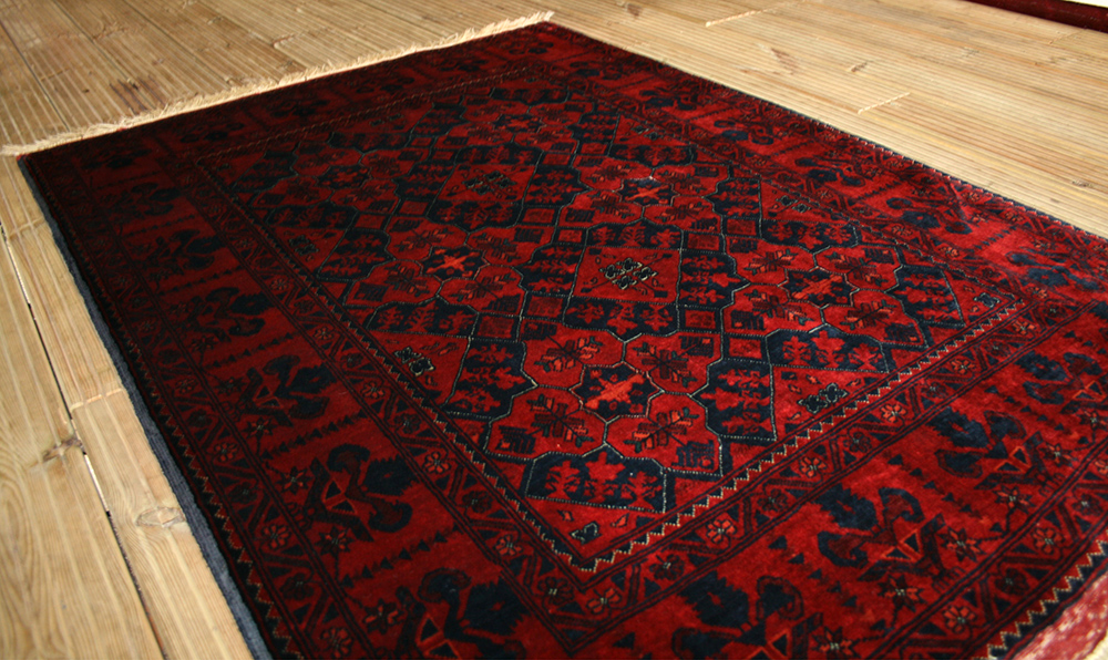 Small Oriental Hand Knotted Beljik Rug In Wool Cotton
