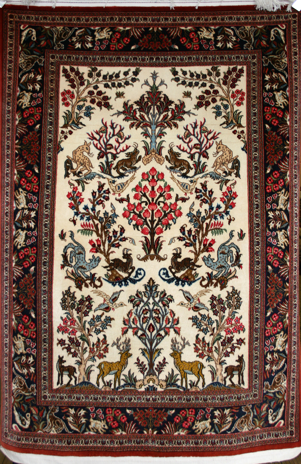 Persian Hand Knotted Qum Rug In Wool Cotton Foundation Ref 1588