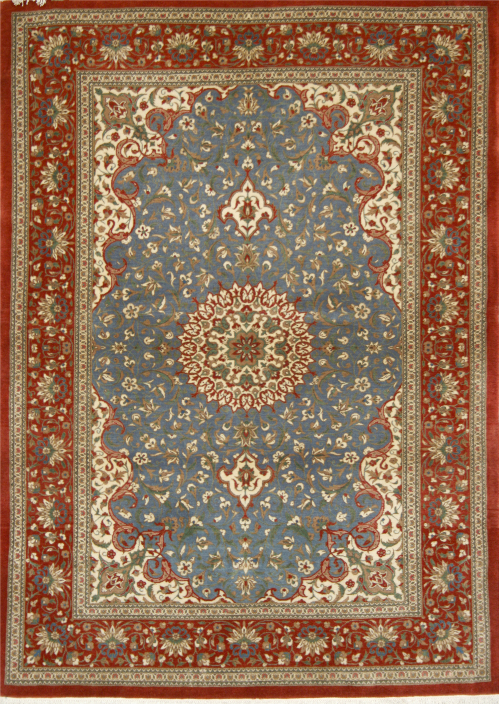 Small Persian Hand Knotted Isfahan Rug In Wool Cotton