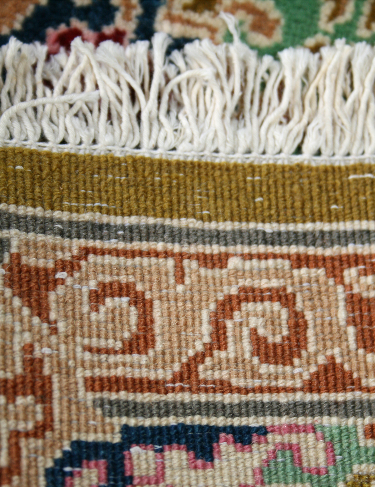 Large Persian Hand Knotted Kerman Rug In Wool Cotton