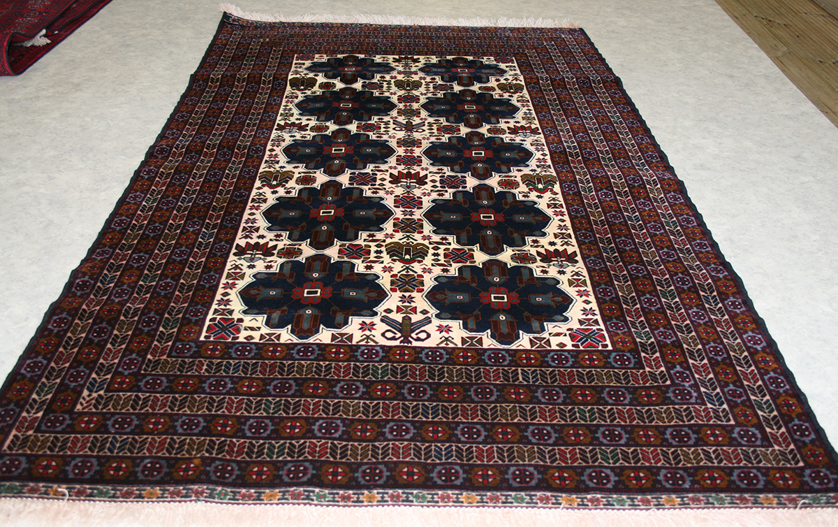 Oriental Hand Knotted Beljik Rug In Wool Cotton