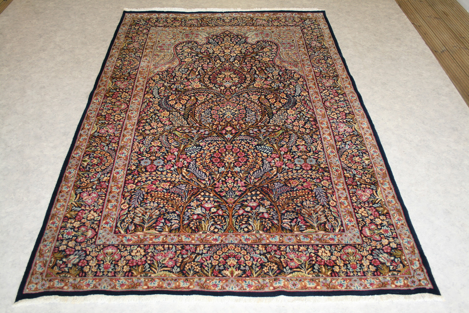 Persian Hand Knotted Kerman Rug In Wool Cotton Foundation