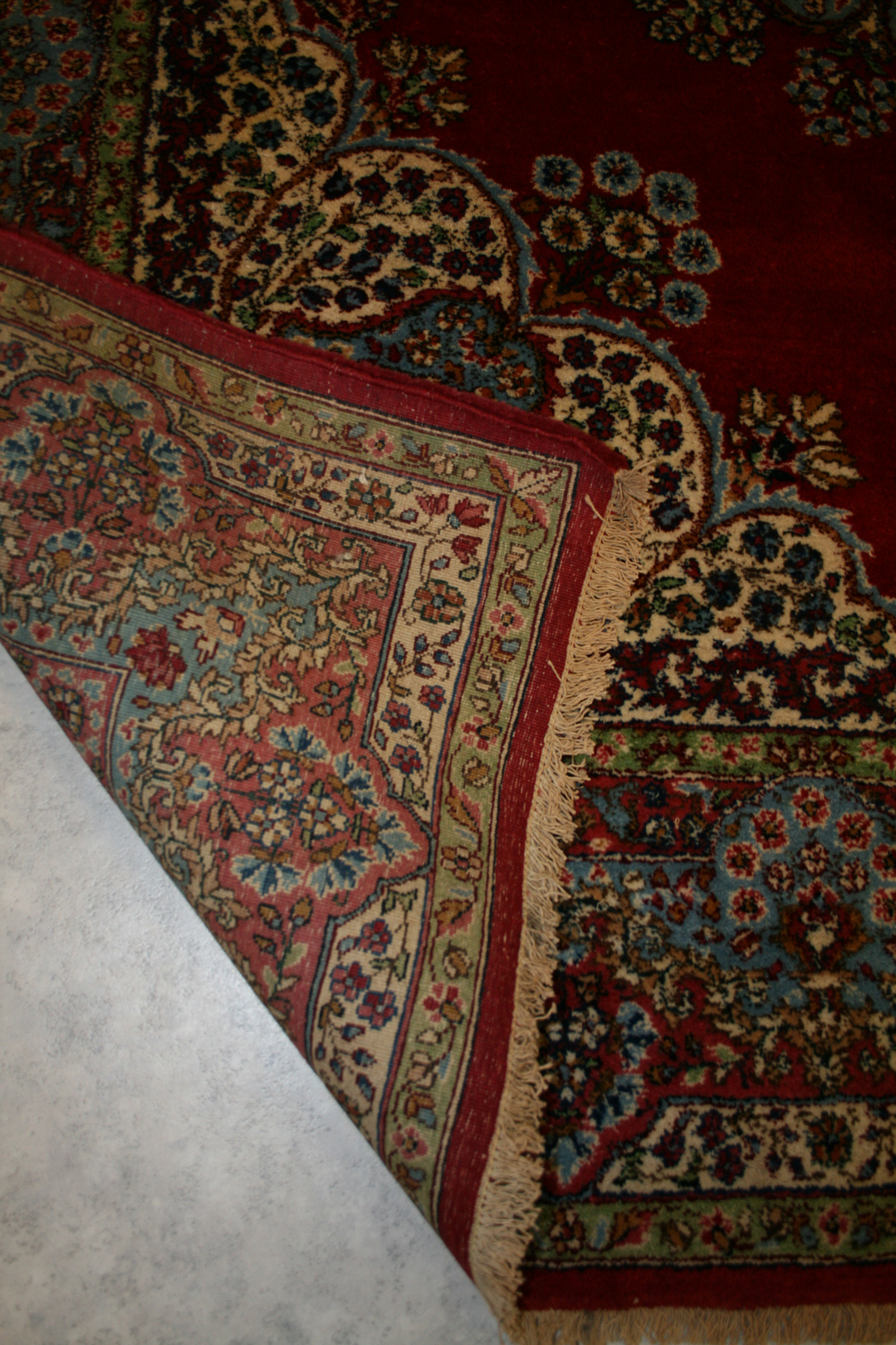 Oriental Hand Knotted Kerman Rug In Wool Cotton