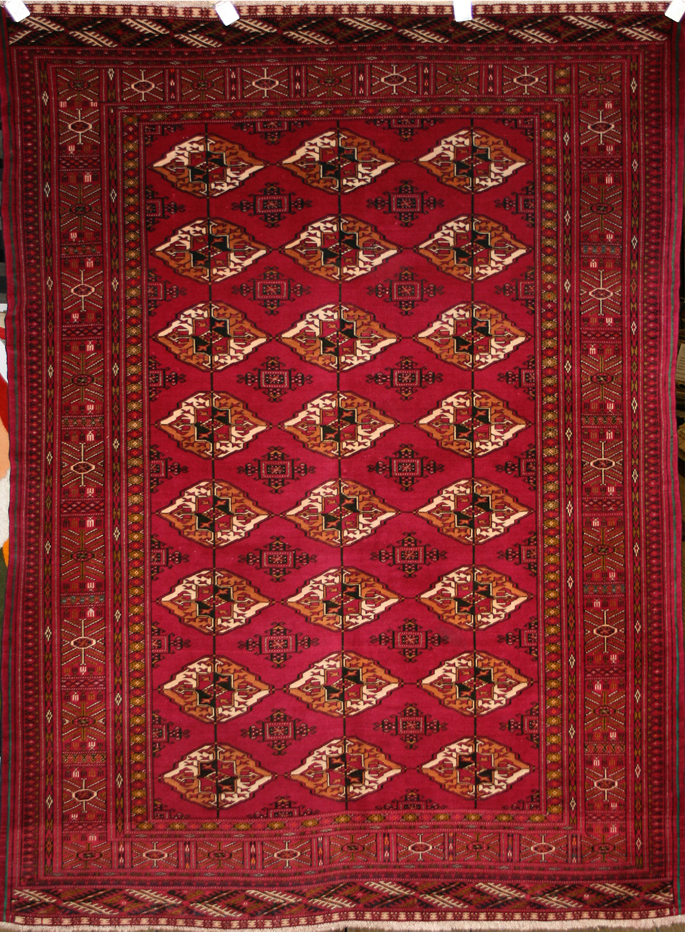 Persian Hand Knotted Turkman Rug In Wool Silk Foundation