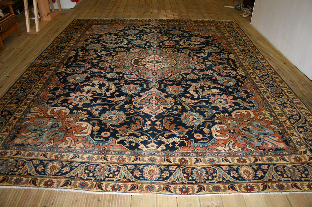Large Persian Hand Knotted Khoye Rug In Wool Cotton