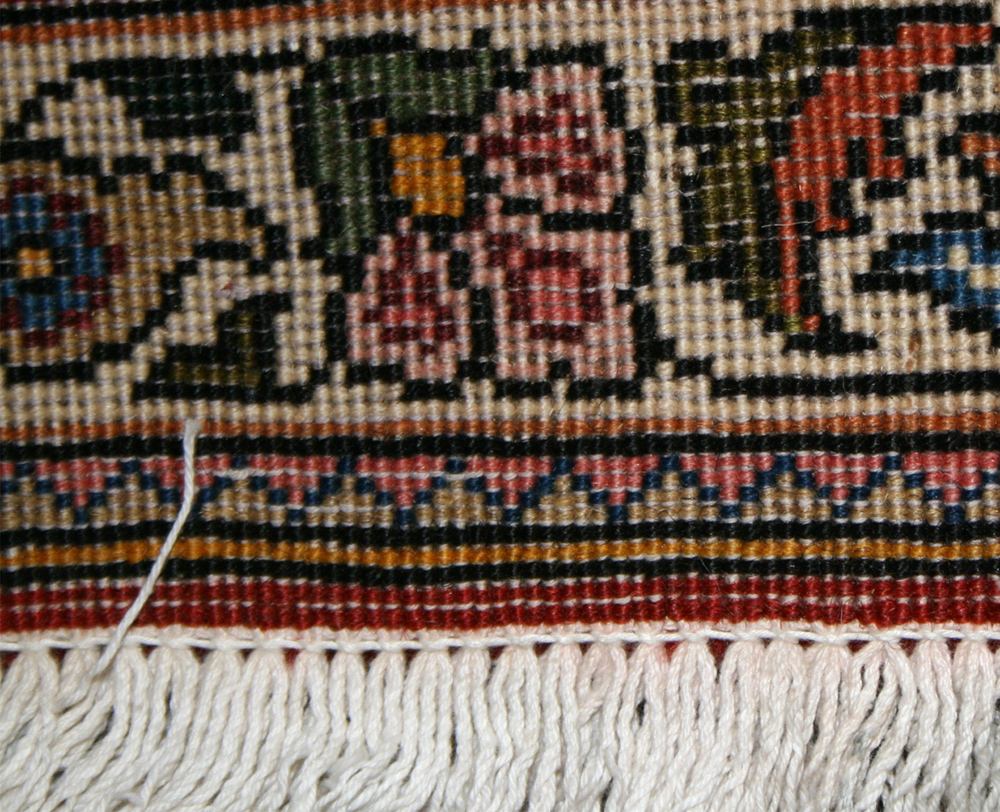 back of rug showing weft