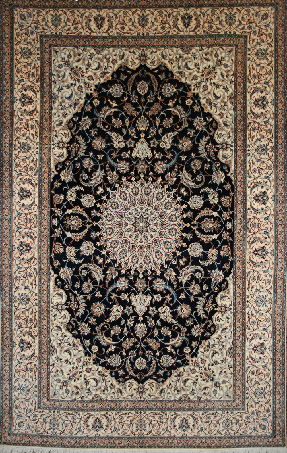 Large Persian Hand Knotted Nain Rug In Wool Amp Silk Ref