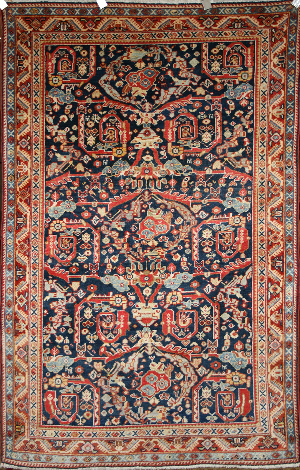 Persian Hand Knotted Meshkabad Rug In Wool Cotton