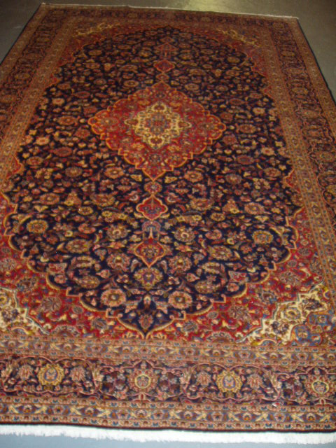 Large Persian Hand Knotted Kashan Rug